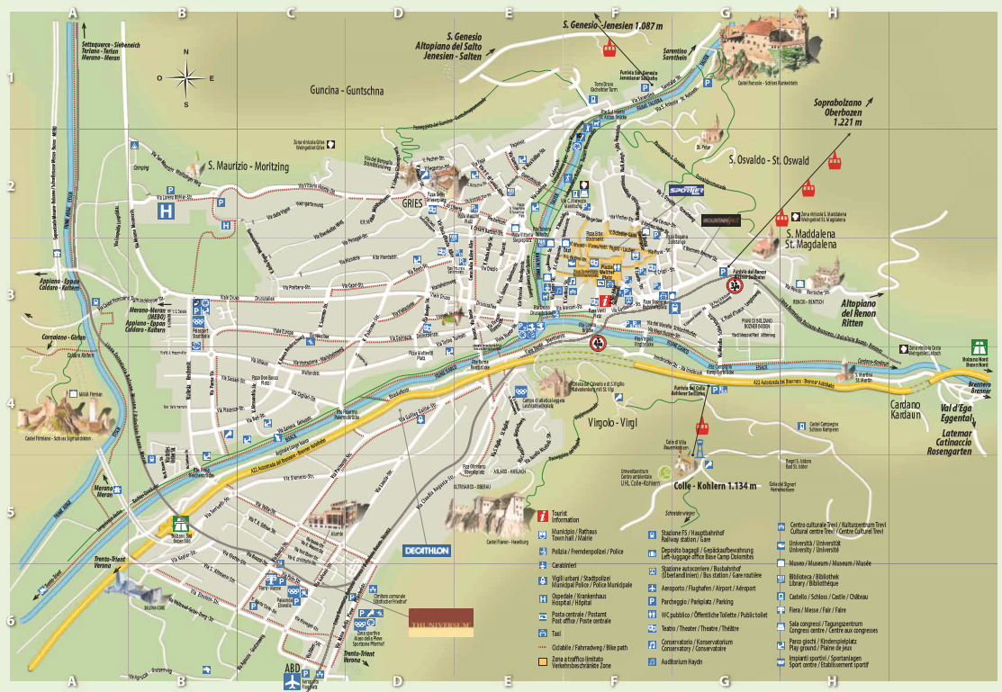 City map of Bozen map and streetmaps of Bozen in South Tyrol